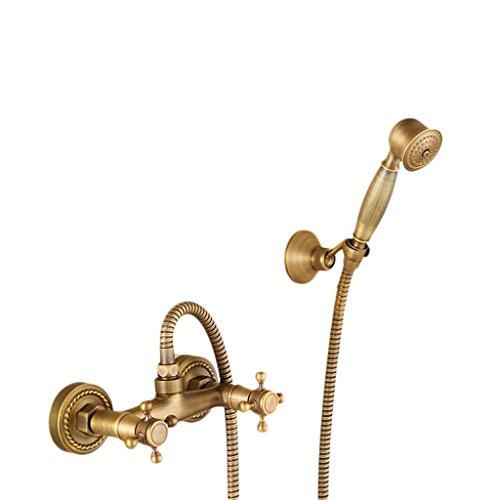 Retro-Kupfer-Telefonhörer-Dusche Handbrause-Spray, wassersparender, unter Druck stehender, Fester Sitz, heißer und kalter Mischventil-Regenhahn mit doppelter Steuerung, gerade, 5-Wege, ohne Auslass