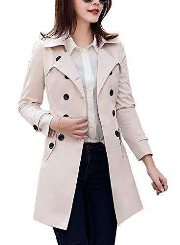 FARVALUE Women's Double Breasted Trench Coat Classic Belted Lapel Overcoat Beige Large