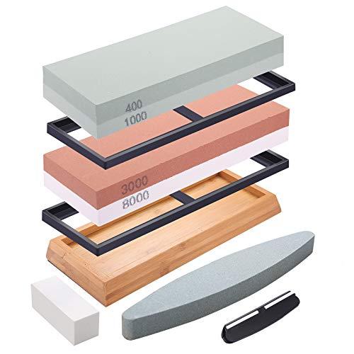 DaiWeier Piedra de afilar Grano Piedra de afilar de cuchillos profesional con Base de Silicona Antideslizante Piedra de Aplanamiento Guía de Ángulo