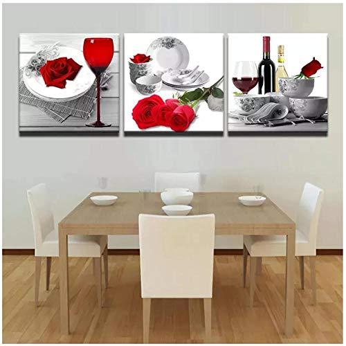 Terilizi Cuadro De Pintura De Vino Rosado Rojo Modular De Lienzo De Arte De Pared Impreso En HD De Cuadros Abstractos De Decoración De Sala De Cocina-20X20Cmx3Pcs Sin Marco