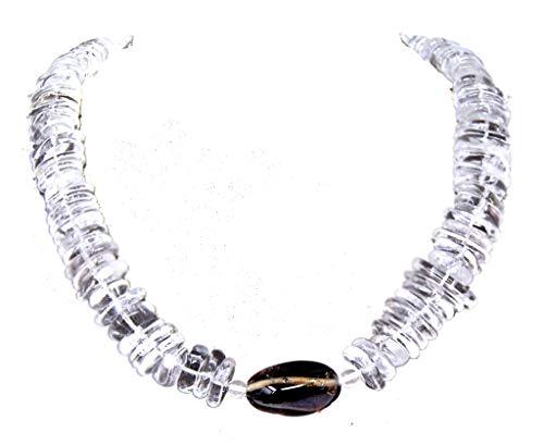 Collier Kette aus Bergkristall in glatter flacher Scheibform mit Rauchquarz-Perle