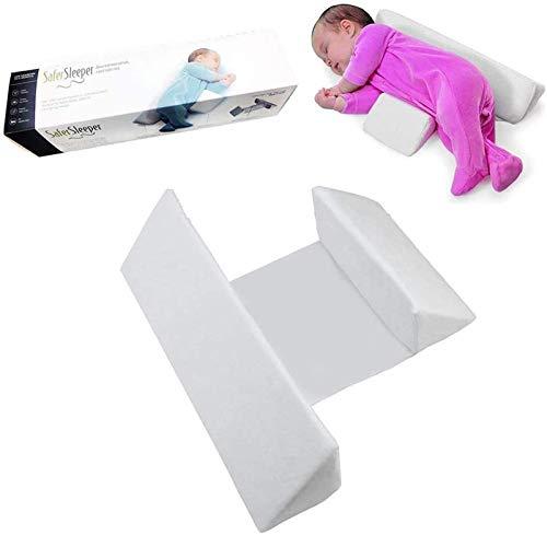 Seitenstützkissen für Babys, Baby-Keilkissen aus atmungsaktiver Velvet, Einfach zu verwenden, Abnehmbares, abnehmbares und waschbares Kissen gegen Überschlag Drei Farben (Weiß)