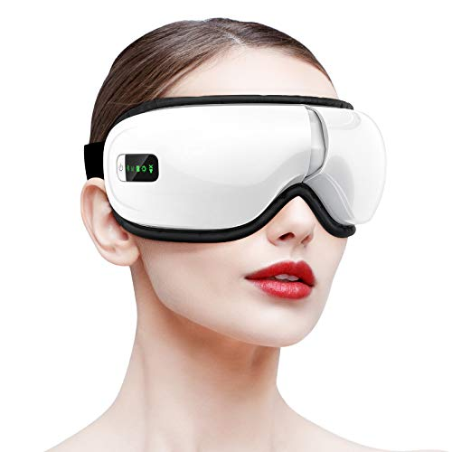 HOMIEE Electric Eye Massager with Heat, Air Pressure, Vibration, Bluetooth Music Eye Mask Machine Relieving Dry Eyes, Eye Fatigue, Eye Temple Massager Improving Blood Circulation & Sleeping Quality