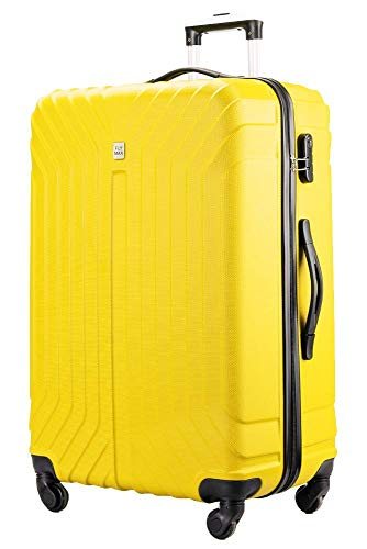 Flymax 29' Large Suitcases on 4 Wheels Lightweight Hard Shell Luggage Durable Check in Hold Luggage Built-in 3 Digit Combination Solar Yellow