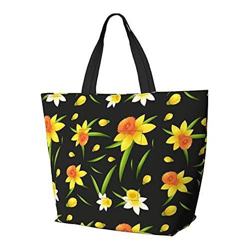 Diseño de fondo sin costuras con flores de narciso, bolsa de hombro multifuncional de gran capacidad, bolso de tableta, bolsa de trabajo ligera, bolsa de viaje para semanas, saco de playa para mujer