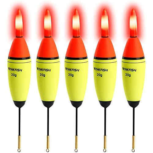 QualyQualy THKFISH 5 Stück Angelposen LED Posen Angeln Schwimmer LED Angel Posen Leuchtpose mit Batterie Angelposen Set 20g