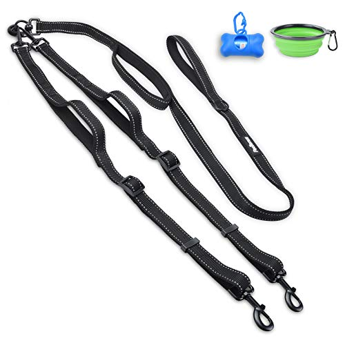 PetBonus Double Dog Leash, No Tangle Dual Dog Leash, Reflective Walking Training Leash, 4 Comfortable Padded Handles for 2 Dogs with Collapsible Bowl and Waste Bags Dispenser, Black