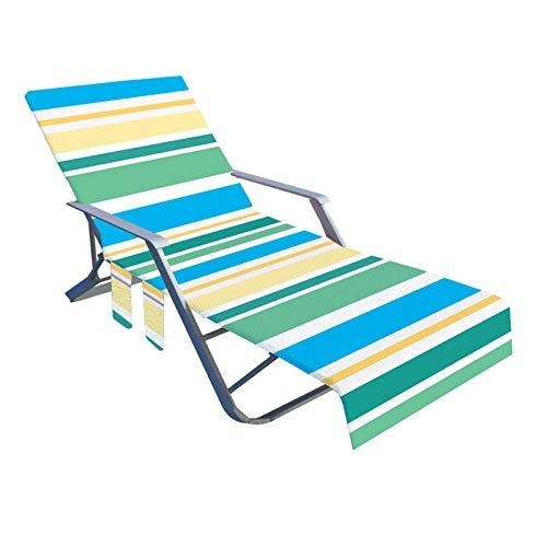 Funda para silla de playa con bolsillos laterales de almacenamiento, toallas Fundas de microfibra para silla de salón Toalla de playa de felpa para piscina Tumbona para tomar el sol Vacaciones