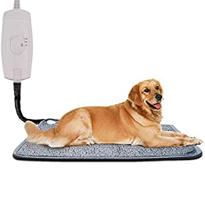 Pet Heating Pad for Cats Dogs, Homello Waterproof Electric Heating Mat Indoor, Adjustable Warming Mat, Pets Heated Bed with Chew Resistant Steel Cord (28.3 x 18.9)