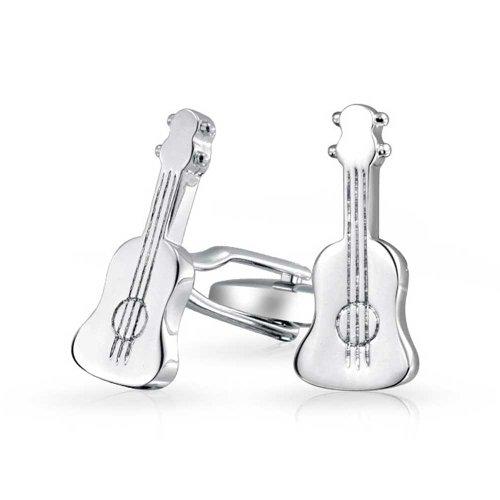 Bling Jewelry Musique Instrument Guitare Acoustique Musicien Chemise Boutons De Manchette Femme Homme Charnière en Acier Ton Argenté