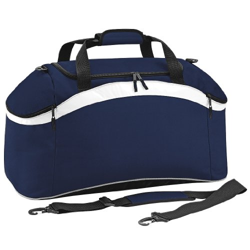 BagBase Teamwear Sport Holdall/Duffle Bag (54 Litres) (Pack of 2) (One Size) (French Navy/White)