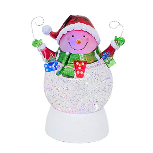 Snowman with Present Garland Swirling LED Light 7 Inch Acrylic Holiday Glitter Globe