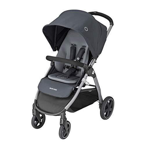Maxi-Cosi Gia, kompakter Kinderwagen mit bequemem Sitz, nutzbar ab der Geburt bis ca. 4 Jahre (max. 22 kg), faltbarer All-Terrain-Buggy inkl. Regenverdeck & großem Einkaufskorb, essential graphite