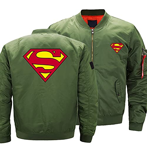 Herren Jacke 3D Superman Druck Leichte Casual Full Zip Jacken Baseball Sportbekleidung Outdoor Military Uniform Mantel B-3X-Large
