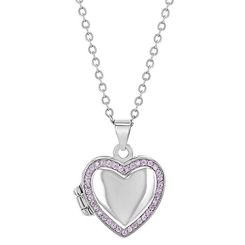 925 Sterling Silver Pink Cubic Zirconia Heart Photo Locket Girls Necklace 16'