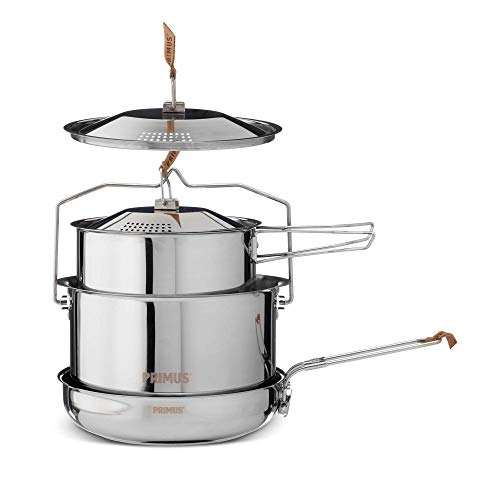 Primus | Stainless Steel Campfire Cookset - Small | Nesting Pots & Pan for Camping and Outdoor Cooking
