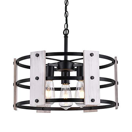 "Wood Dining Room Chandelier,Retro Farmhouse Round Pendant Light, 3 Lights Black Metal & Oak White Wooden Shade Hanging Lamp for Foyer Kitchen Island Living Room Hallway, E26 Base, Dia17.7"""