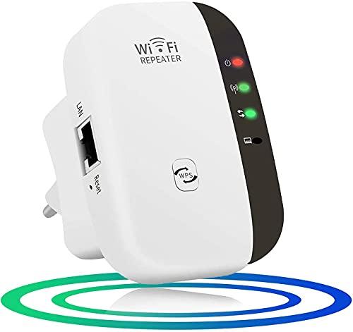 WiFi Répéteur WiFi Booster 300Mbps Extenseur sans Fil Amplificateur de Signal du Réseau Avoir AP Répéteur et WPS Fonction, Installation Facile, 2.4GHz Augmentation de la Couverture WiFi