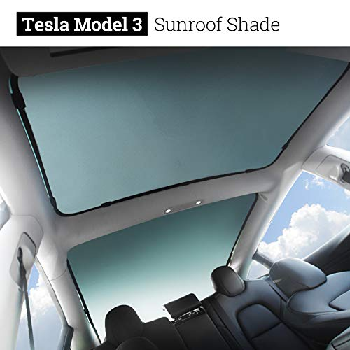 BMZX Model 3 Car Sunroof Glass Shade Foldable Sunshade Heat Isolate Sunshade Sun Shade(Rear Sunroof & Middle Sunroof) 2PCS