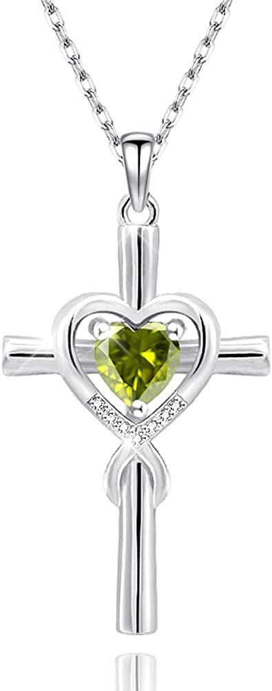 Jecivila Sterling Silver Cross Necklace CZ Heart Women Colorado Springs Mall for San Jose Mall Faith