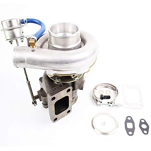 Hybrid T3/T4 T04E Turbo Turbocharger 4 Bolt V-BAND A/R .63 Up to 420HP for All 2.0-3.5L Engines Internal Wastegate Universal Turbo Charger & Gaskets Oil Cooled