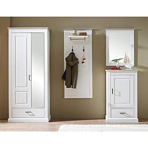 Lomadox Garderobenmöbel Set im Landhausstil in Pinie hell Taupe mit Spiegelschrank, Spiegel und Schuhschrank Dielenmöbel