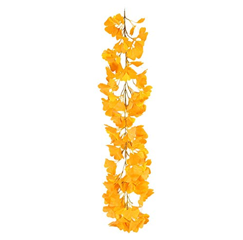 Trkee Artificial Garland Ginkgo Leaf Green Plants Leaves Garland Fake Rattan Artificial Wreath Wall Hanging Home Wedding
