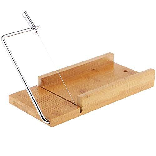 POFET Juego de moldes de bambú y cortador de pan y cortador de alambre de acero inoxidable y cortador de alambre para hacer jabón hecho a mano