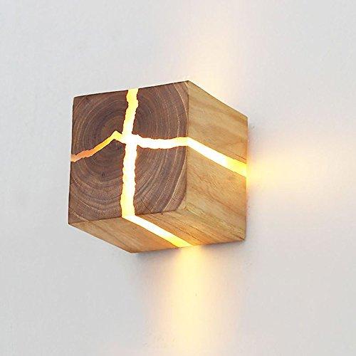 LED Hölzerne Riss WandLampe 5W Kreativ Wandleuchte Klein Nachtlicht Warmweiß,Moderne quadratische 8cm Nachttischlampe,Wohnzimmer Schlafzimmer Flur Treppe Garderobe Hall Decor [Energieklasse A++]