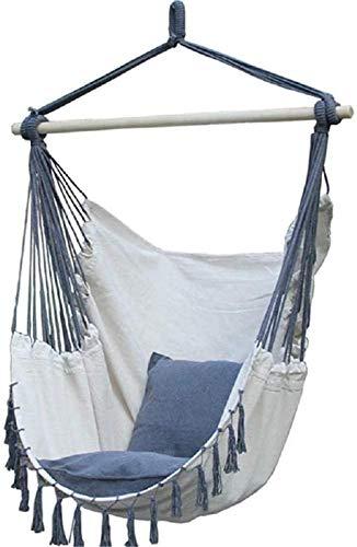 Hamac robuste et magnifique, Chaise hamac pour enfants Tissu balançoire extérieur avec chaise hamac Siège en tissu de coton avec suspension Corde Jardin confortable et durable Convient pour intéri