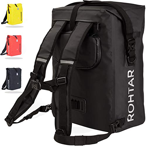 Rohtar Waterproof Messenger Bag - 18L or 25L 3-in-1 Shoulder Pack, Backpack, Bike Pannier Travel Luggage Carrier - Mountain Cycling Rucksack - Adjustable Straps, Handlebar Clamps, Hidden Zips - Black