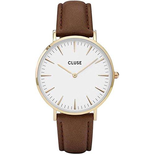CluseレディースLa Boheme 38?mmブラウンレザーバンドメタルケースクォーツホワイトダイヤルアナログ腕時計...