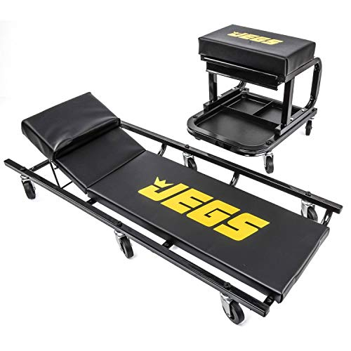 "JEGS Creeper and Mechanic Seat Set | Memory Foam Padding | Black with JEGS Logo | 350 LBS Capacity | 2 ½"" Caster Wheels"