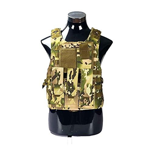 Chaleco táctico Airsoft Military Tactical Chaleco Molle Combate Asalto Placa Portador Táctico Chaleco CS Ropa al Aire Libre Caza Chaleco Transpirable y Ligero (Color : CP Camo)