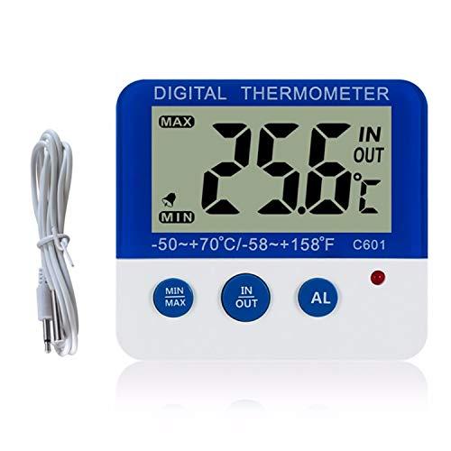 Sunydog Termómetro Digital para frigorífico con Alarma y Temperatura mínima máxima Pantalla LCD fácil de Leer Termómetro Digital para frigorífico y congelador para Interiores y Exteriores