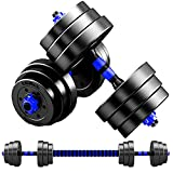 MOJEER ダンベル 可変式 3in1】10kg 20kg 30kg 40kg 2個セット バーベルにもなる ダンベル 無臭素材 静音 (10kg×2個セット/ blue)