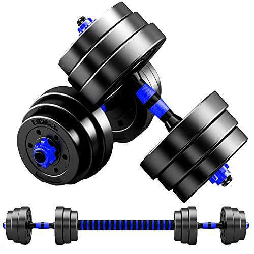 MOJEER ダンベル 可変式 3in1】10kg 20kg 30kg 40kg 2個セット バーベルにもなる ダンベル 無臭素材 静音 (10kg×2個セット/青XH)