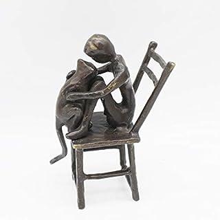 Statue Sculptures Cast Iron Boy and Cat Home Desktop Decoration Office Decoration Crafts