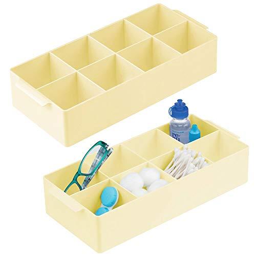 mDesign Förvaringslåda med 8 små fack — Lådinlägg med handtag i plast — Badrumsförvaring för tops, bomullstussar och hygienartiklar — 2-pack – Ljusgul