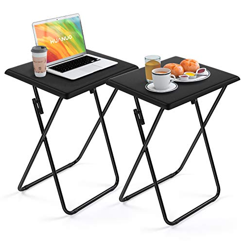 HUANUO Folding TV Tray Table - Stable Tray Table with No Assembly Required, TV Dinner Tray for Eating, Foldable Snack Tables for Bed & Sofa, Home & Office Use (2 Pack)