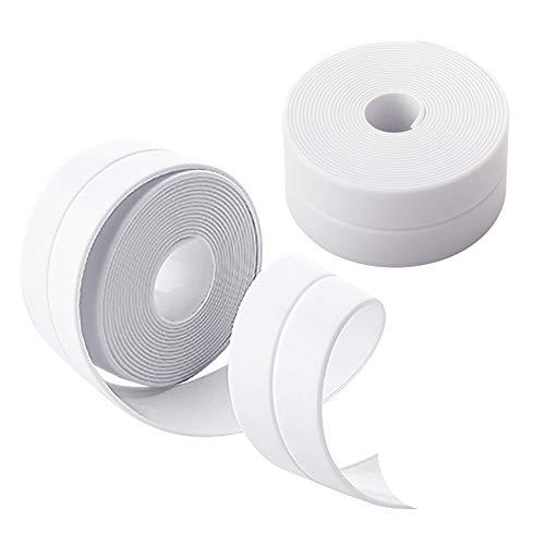 Houdao 2 pièces ruban adhésif blanc ruban d'étanchéité bande d'extrémité auto-adhésive bande de joint de comptoir ruban adhésif étanche ruban adhésif pour cuisine, salle de bain