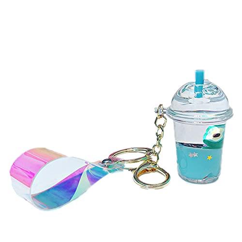 JKDFGJ Linda taza de aguacate, llavero acrílico para bebidas, llaveros líquidos móviles de frutas, botella de deriva, joyería, regalos para niños