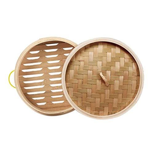 Lcuihong-Dampf Dünsteinsätze Chinesischer Bambus-Dampferkocher 15/20/25 cm mit Deckeldimsum mit Griff, Chinesische Küchengeräte (Color : 30cm Set)