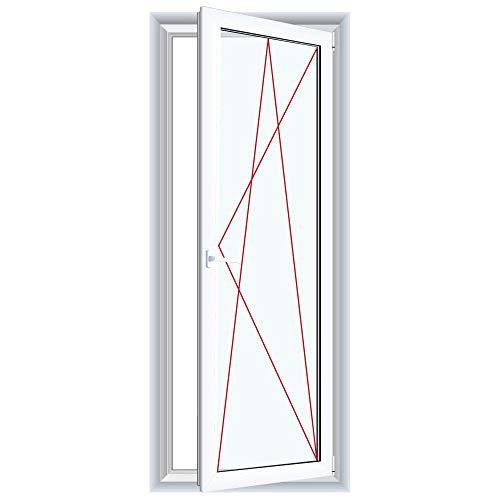 Bodentiefe Fenster Weiß - Dreh-Kipp Fenster - Anschlag:DIN Rechts, Glas:3-Fach, BxH:600x1800