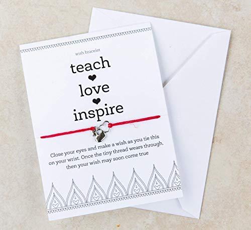 Teacher Appreciation Gift, Teach Love Inspire, Wish Frienship String Bracelet, Heart Apple Charm