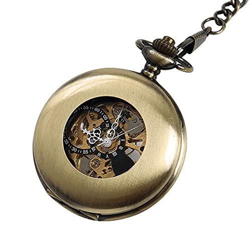 XGJJ Reloj de bolsillo mecánico de bronce con números romanos y esfera de metal hueco