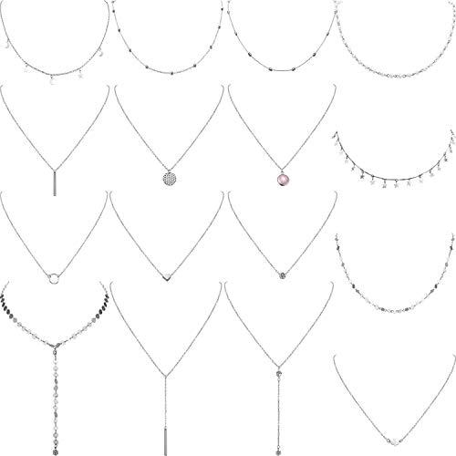Yaomiao 16 Stück Geschichteten Choker Halskette Einstellbar Anhänger Halskette Mond Pailletten Choker Mehrschichtige Kette Halskette Set für Damen Mädchen (Silber)