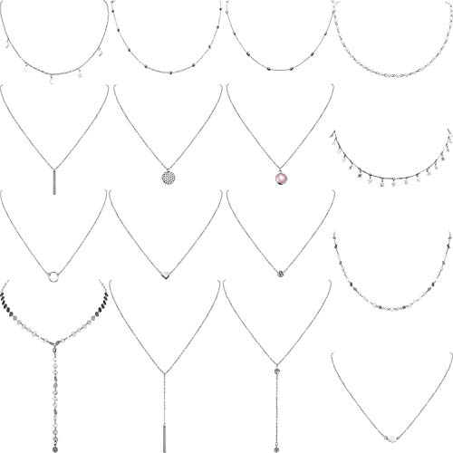 Yaomiao 16 Pieces Layered Choker Necklace Adjustable Pendant Necklace Moon Sequins Choker Multilayer Chain Necklace Set for Women Girls (Silver)