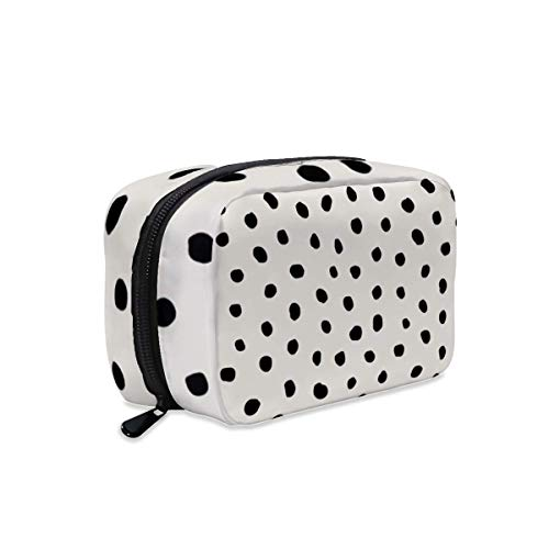 Modern Polka dots Black on Light Gray Makeup Bag Zipper Pouch Travel Toiletry Bag Cosmetic Accessories Organizer Purse Large Portable for Women Girls