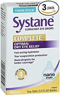 Systane Complete Optimal Dry Eye Relief Lubricant Eye Drops - 20 ml, Pack of 3